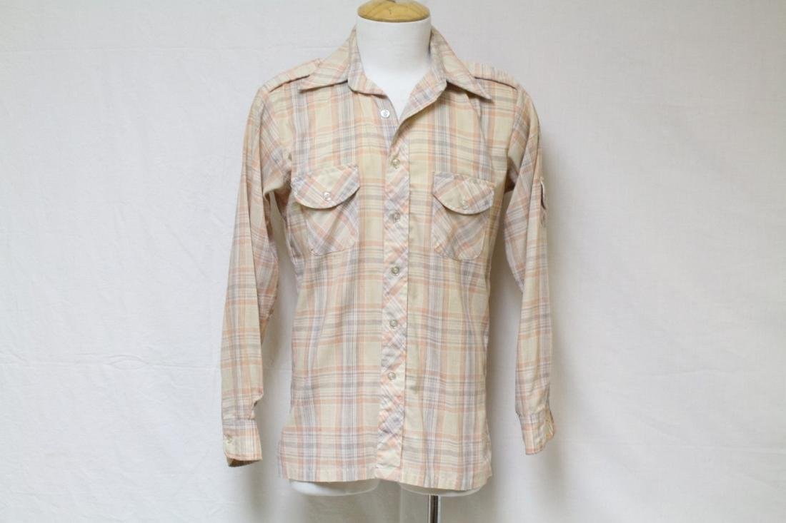 Vintage 1970s Men's Peach Plaid Shirt