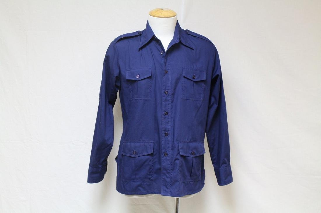 Vintage 1970s Men's Blue 4-Pocket Shirt
