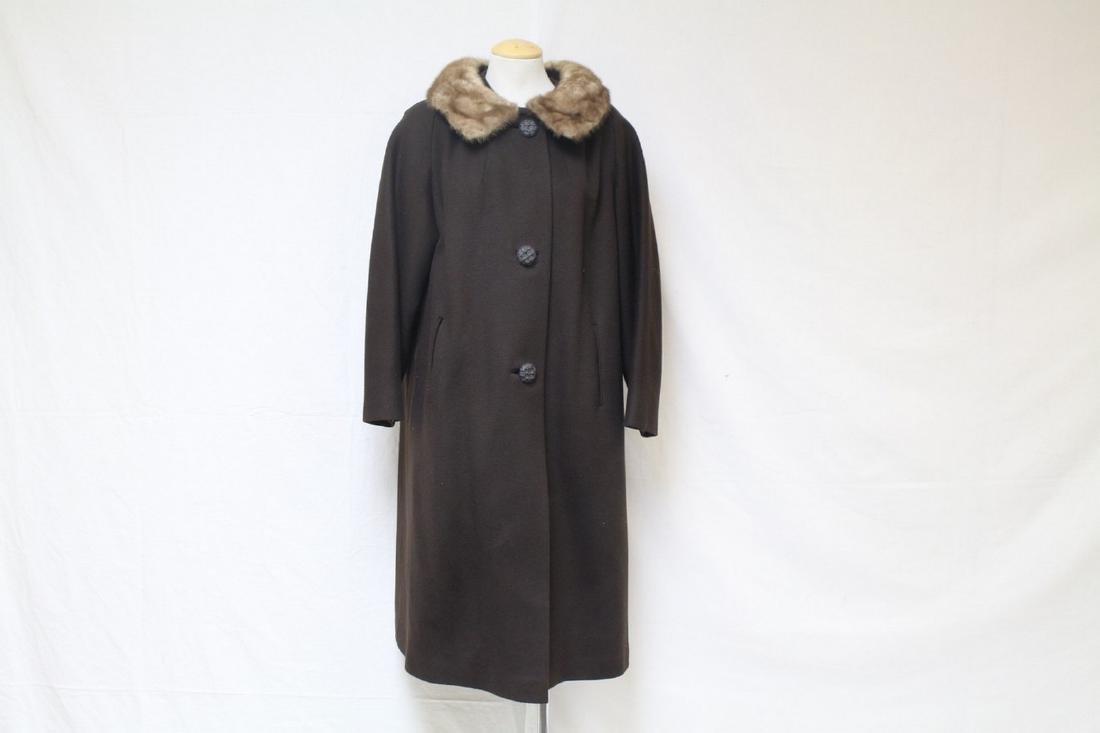 Vintage 1960s Brown Wool & Mink Coat
