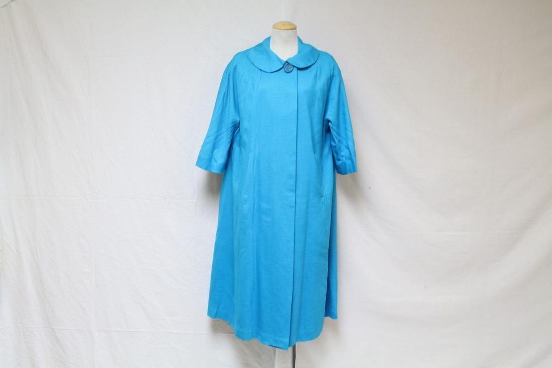 Vintage 1960s Turquoise Swing Coat