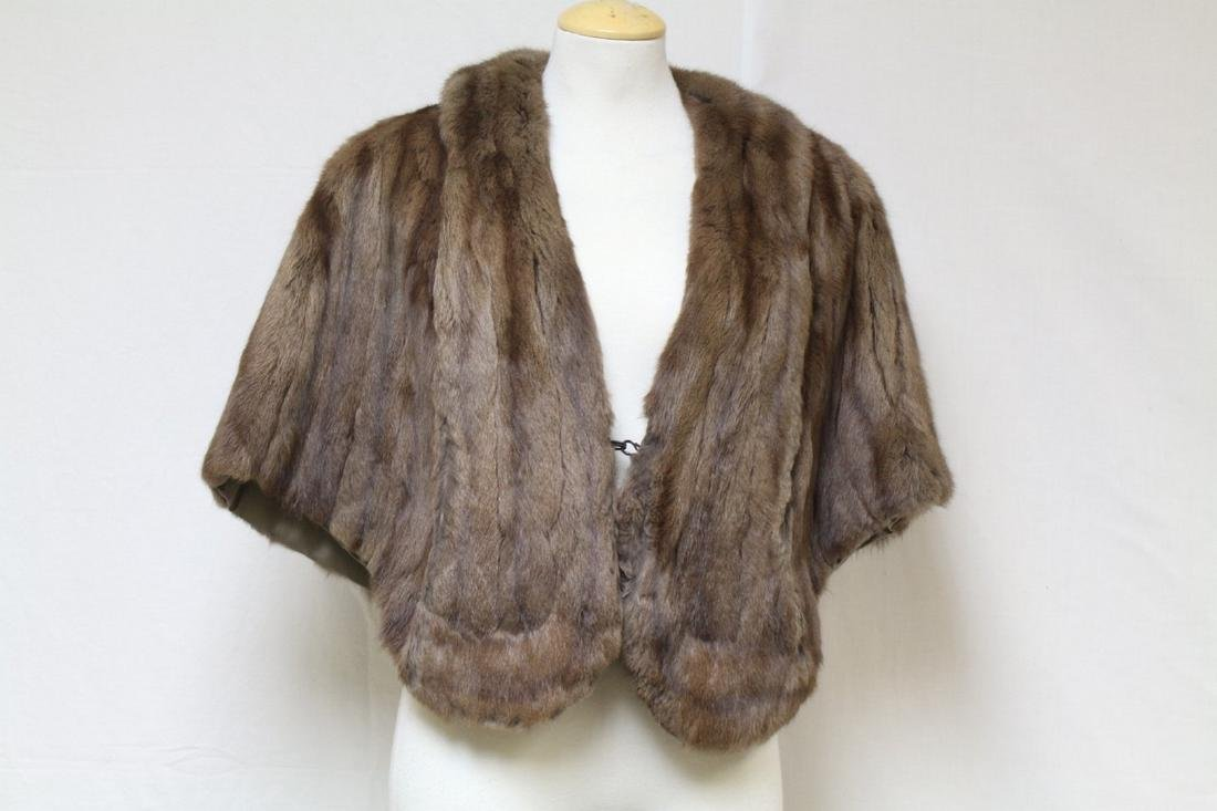 Vintage 1960s Brown Fur Caplet