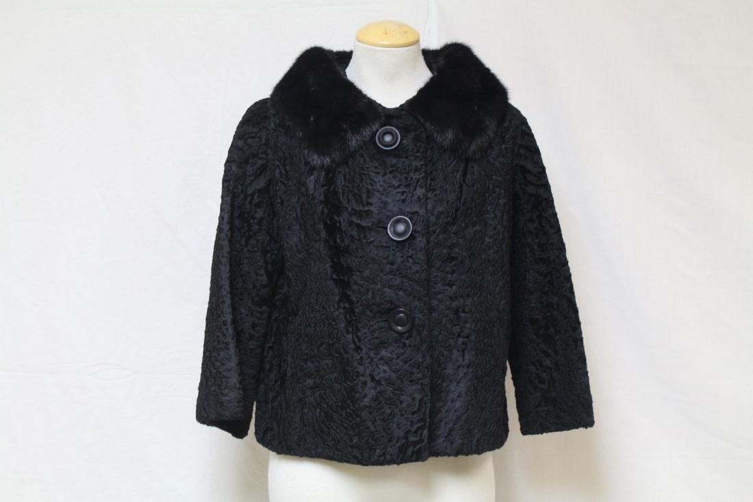 Vintage 1960s Black Fur Trim Car Coat