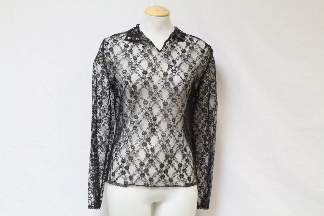 Vintage 1970's Black Lace Blouse