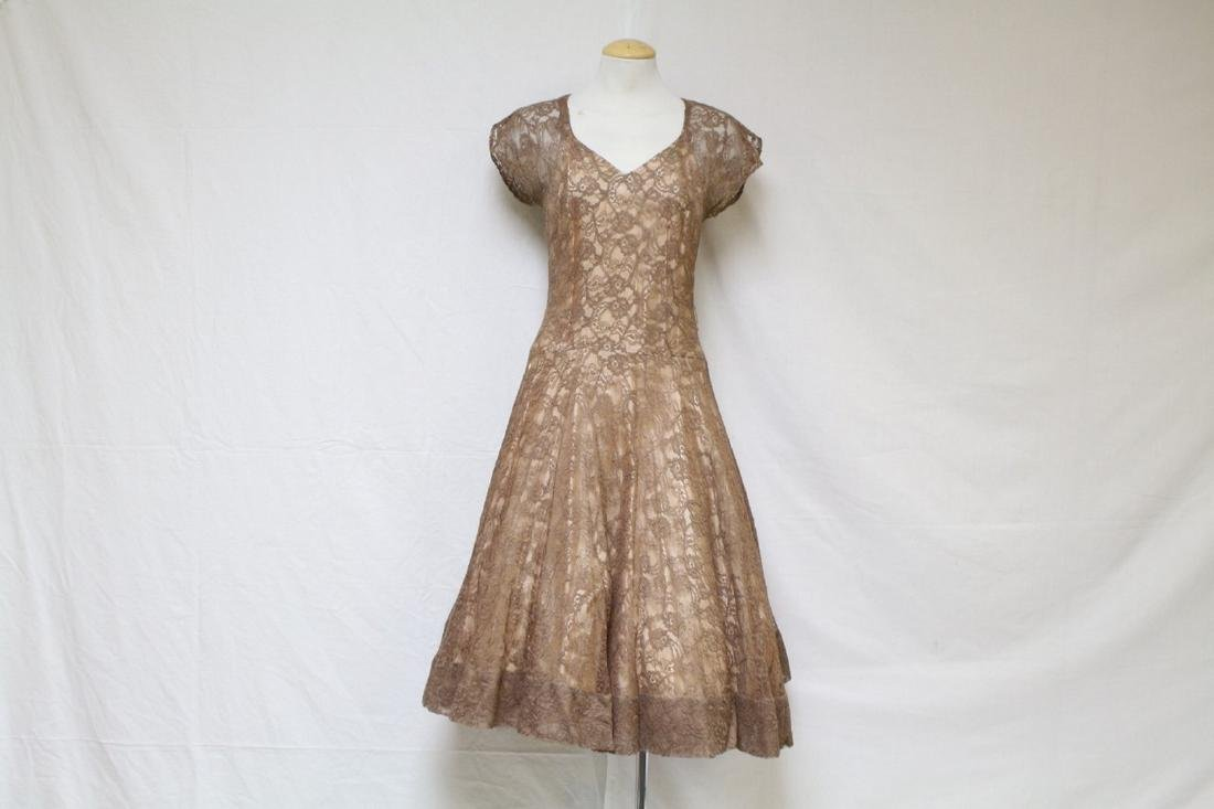 Vintage 1960s Brown Lace Party Dress