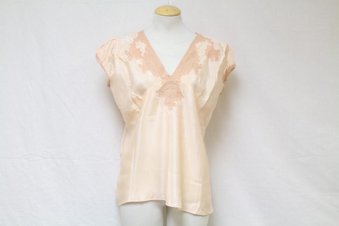 Vintage 1940s Peach Silk Lingerie Top