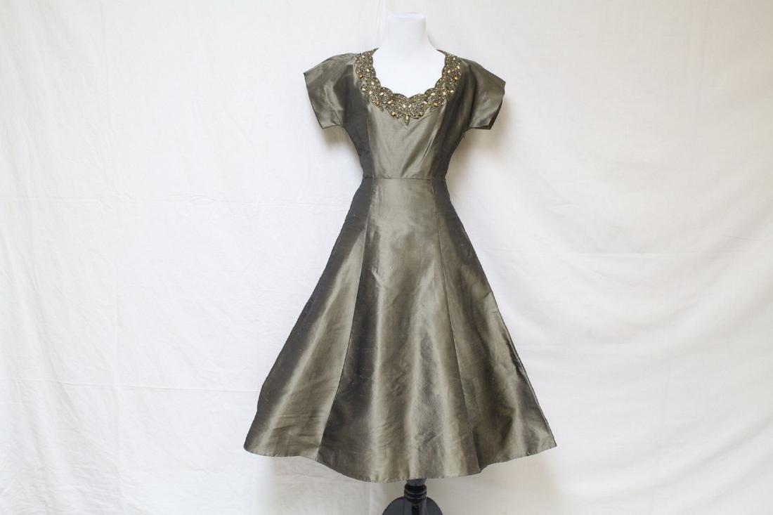 Vintage 1950s Gothe Bronze Party Dress