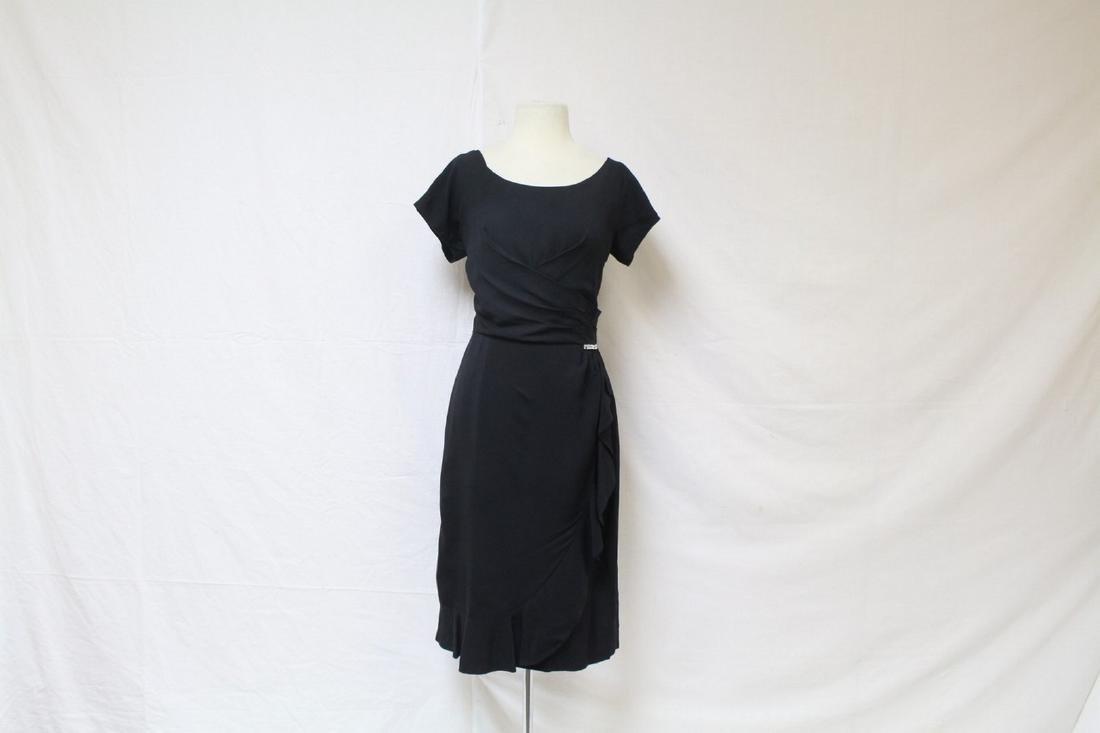 Vintage 1950s Gothe Black Cocktail Dress
