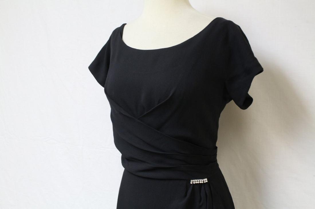 Vintage 1950s Gothe Black Cocktail Dress - 2