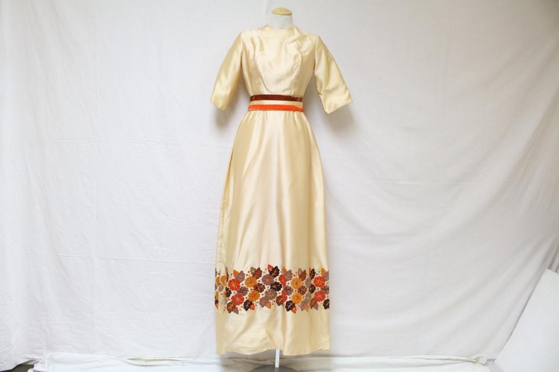 Vintage 1960s Embroidered Peach Satin Dress