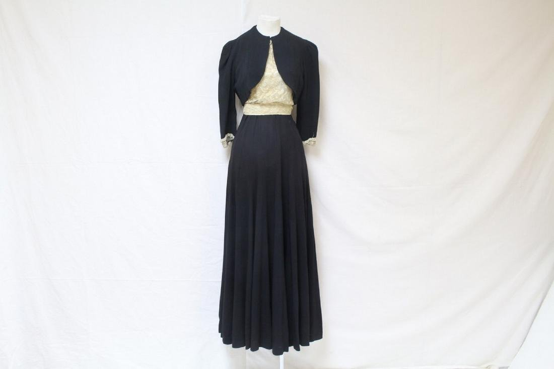 Vintage 1930s Tambour Lace & Rayon Gown