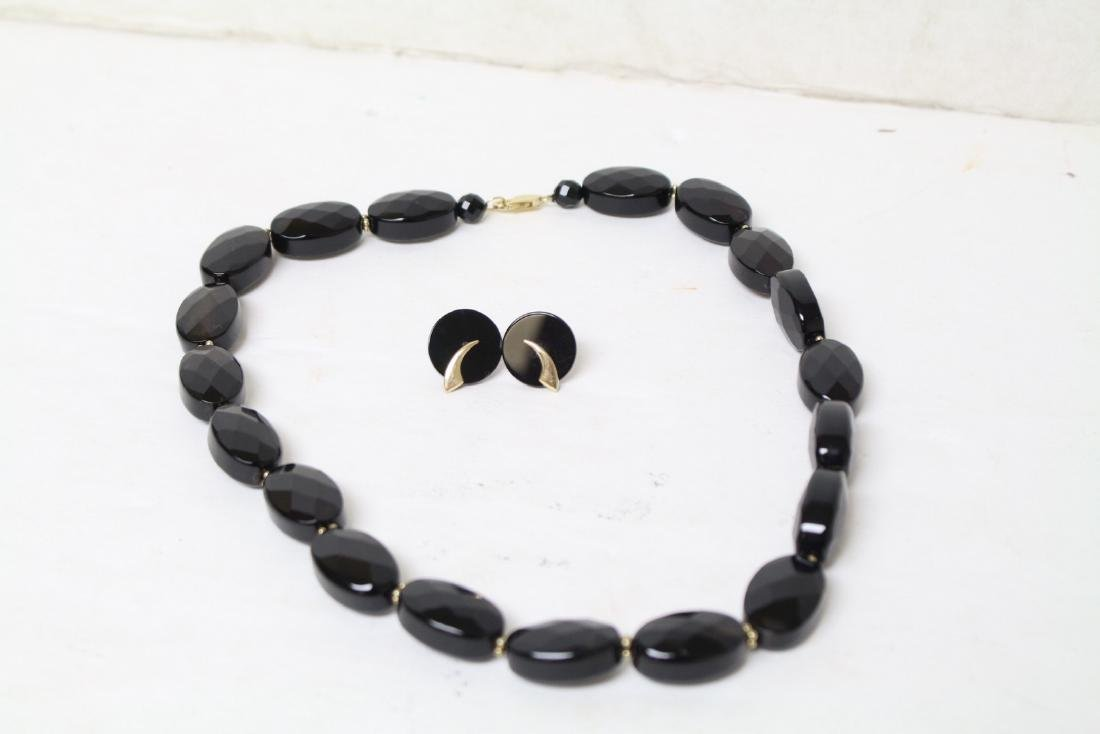 Vintage Onyx & Gold Necklace & Earrings Set
