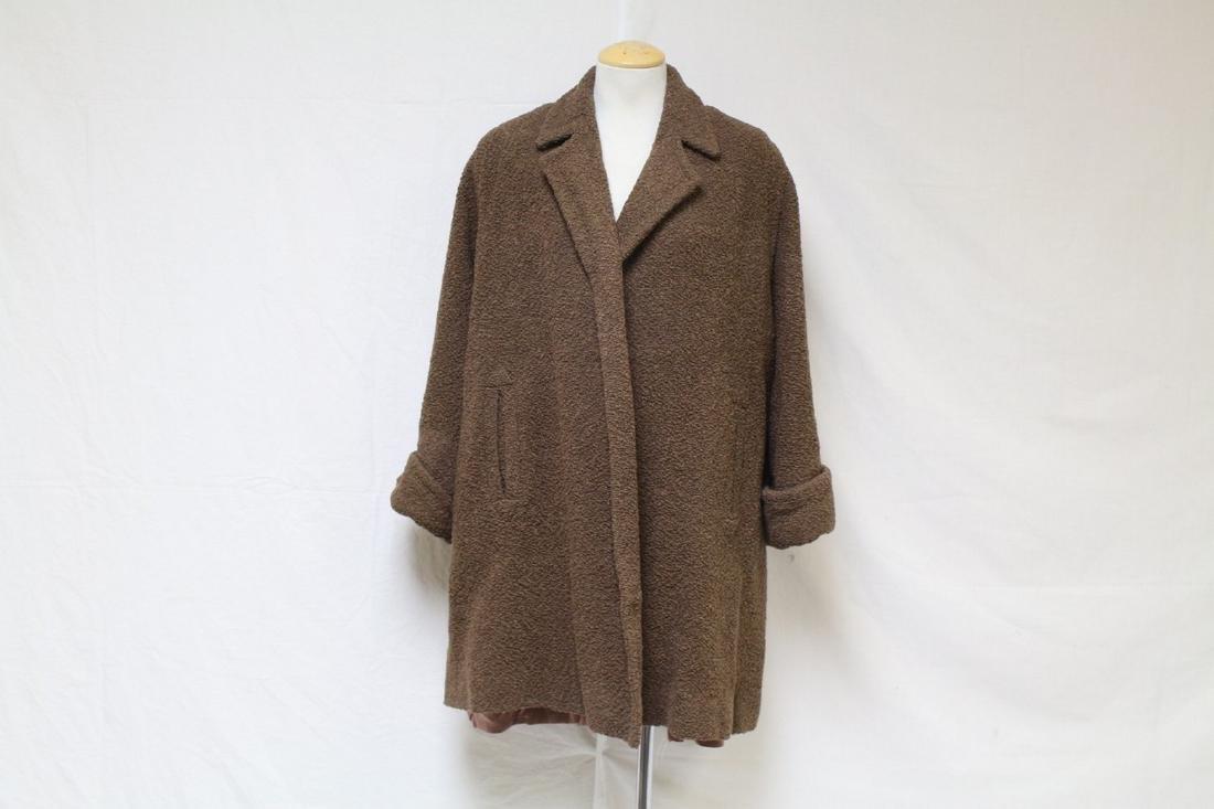 Vintage 1950s Brown Boucle Swing Jacket