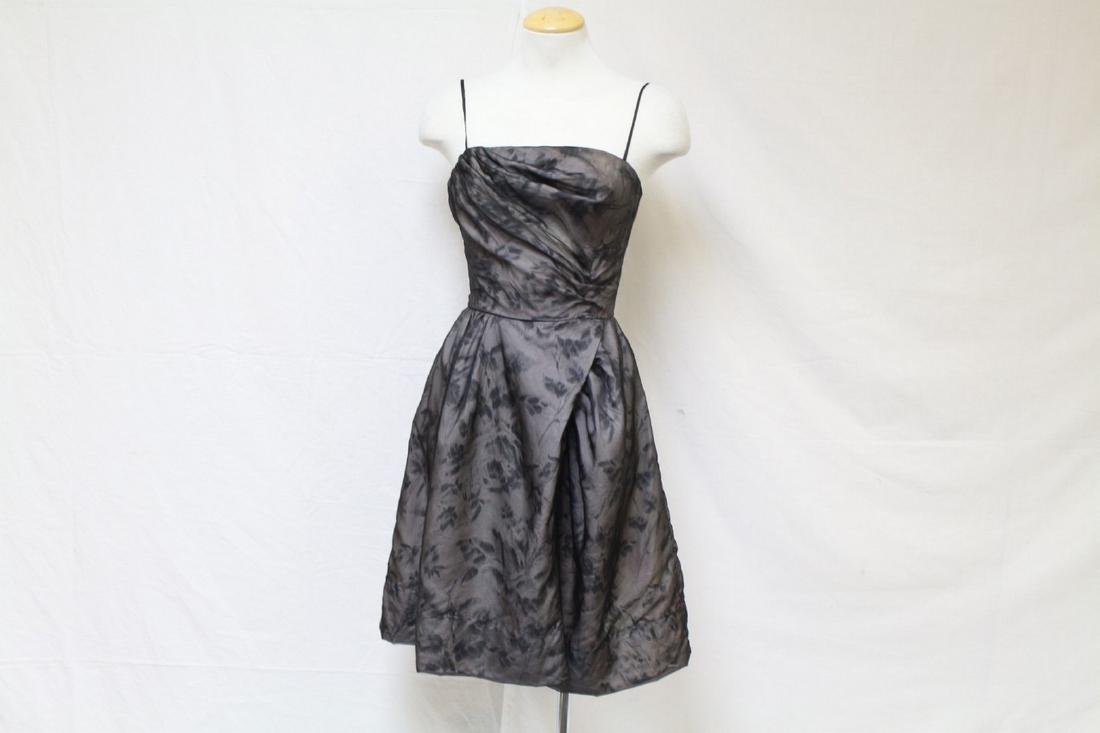 Vintage 1960s Black & Grey Rose Chiffon Dress