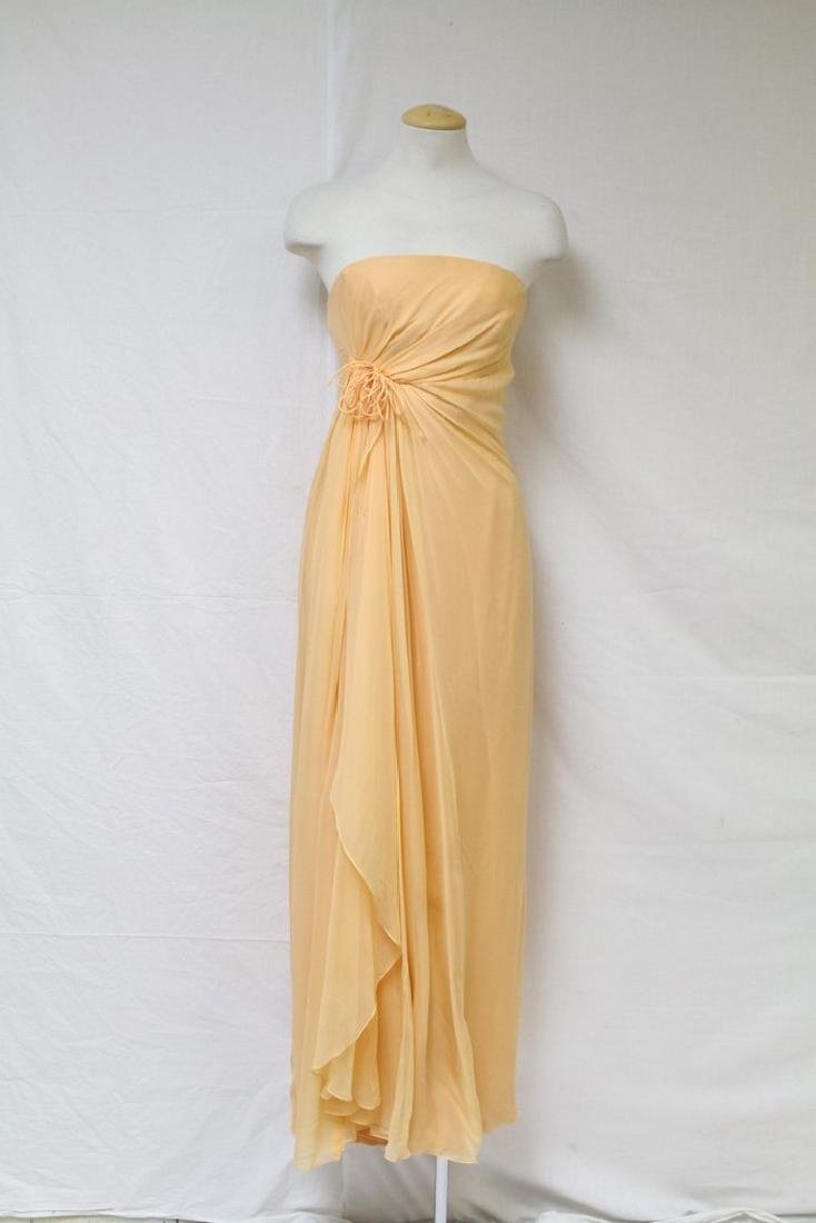 Vintage 1970's Helena Barbareri Silk Chiffon Gown