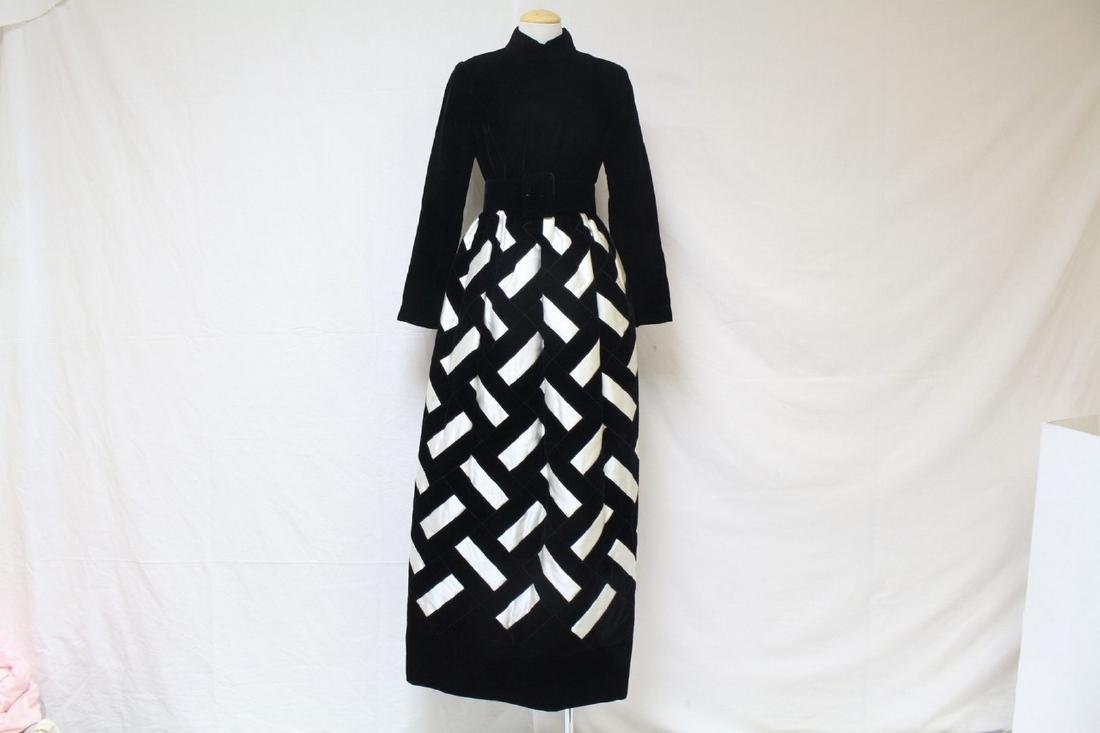 Vintage 1960s Black & White Velvet and Satin Gown