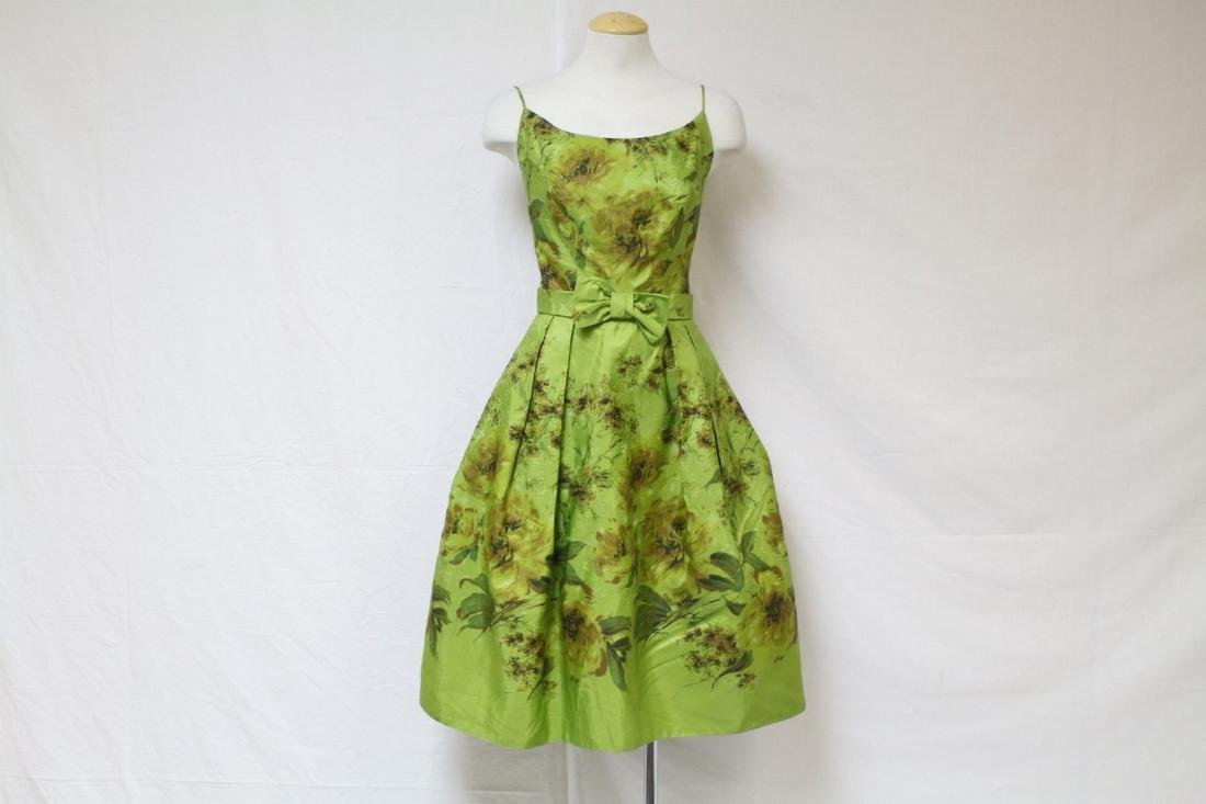 Vintage 1960s Lime Green Floral Party Dress