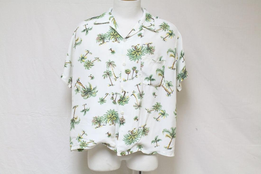 Vintage 1950s Men's Palm Tree Rayon Shirt