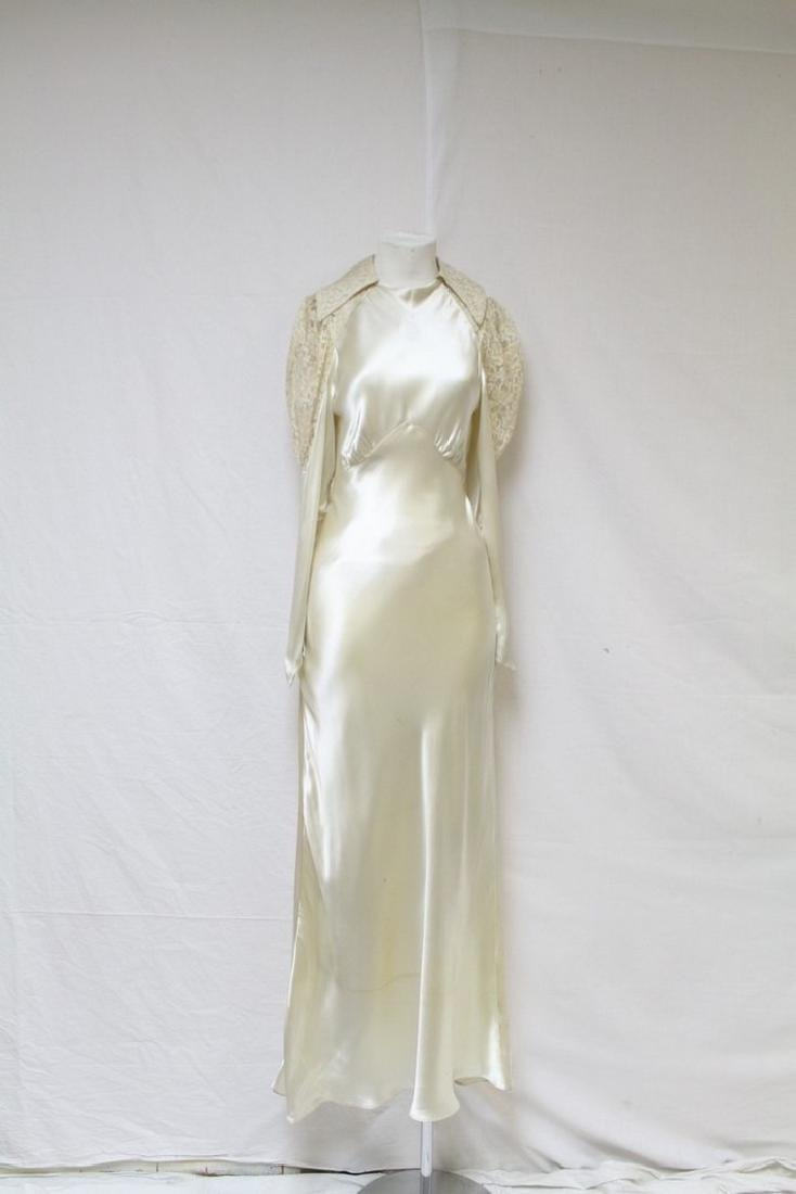 Vintage 1930s Satin & Lace Bias Cut Wedding Gown