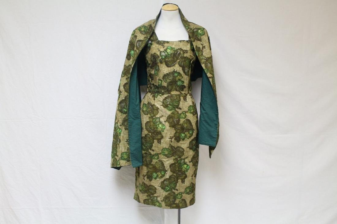 Vintage 1950s Green Floral Sequined Dress with Wrap
