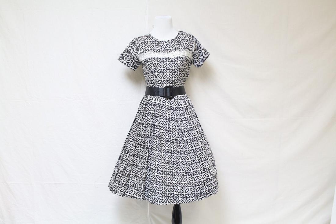 Vintage 1950s Black & White Floral Dress