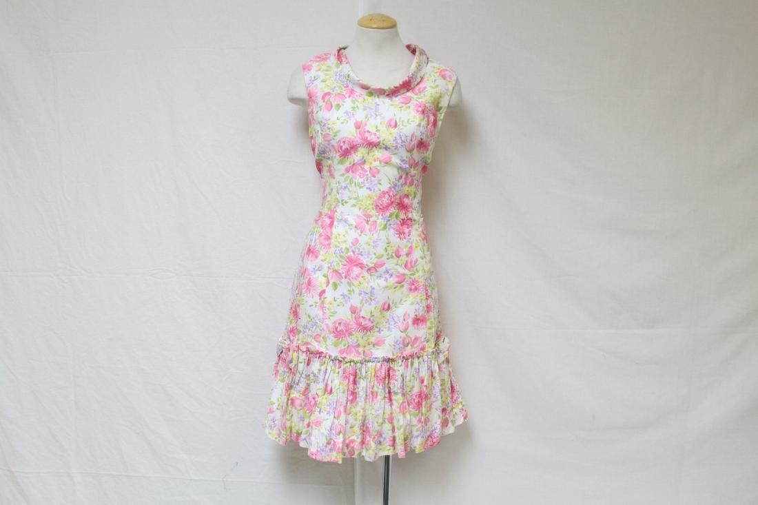Vintage 1960s Pink Floral Shift Dress