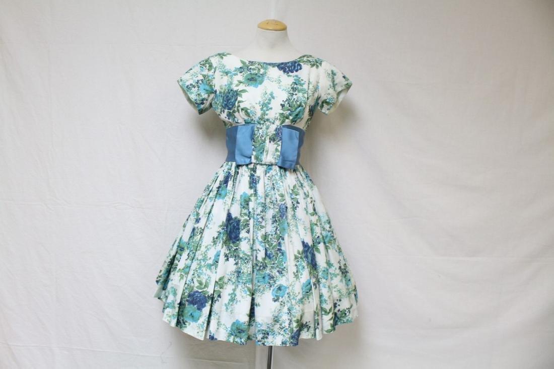 Vintage 1960s Blue Rose Party Dress