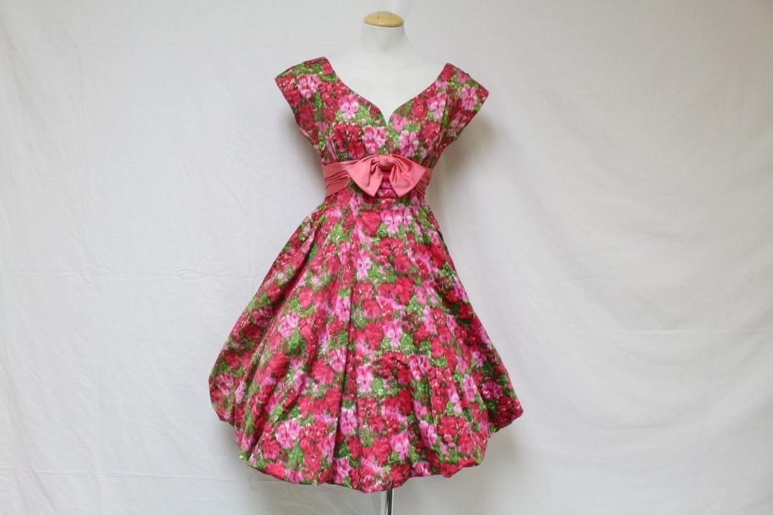 Vintage 1960s Hot Pink Floral Party Dress