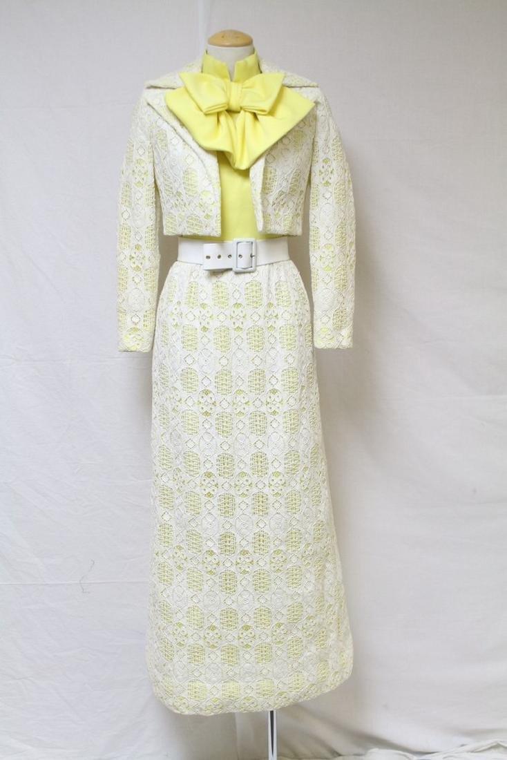 Vintage 1970's Yellow & White Halter Dress & Jacket