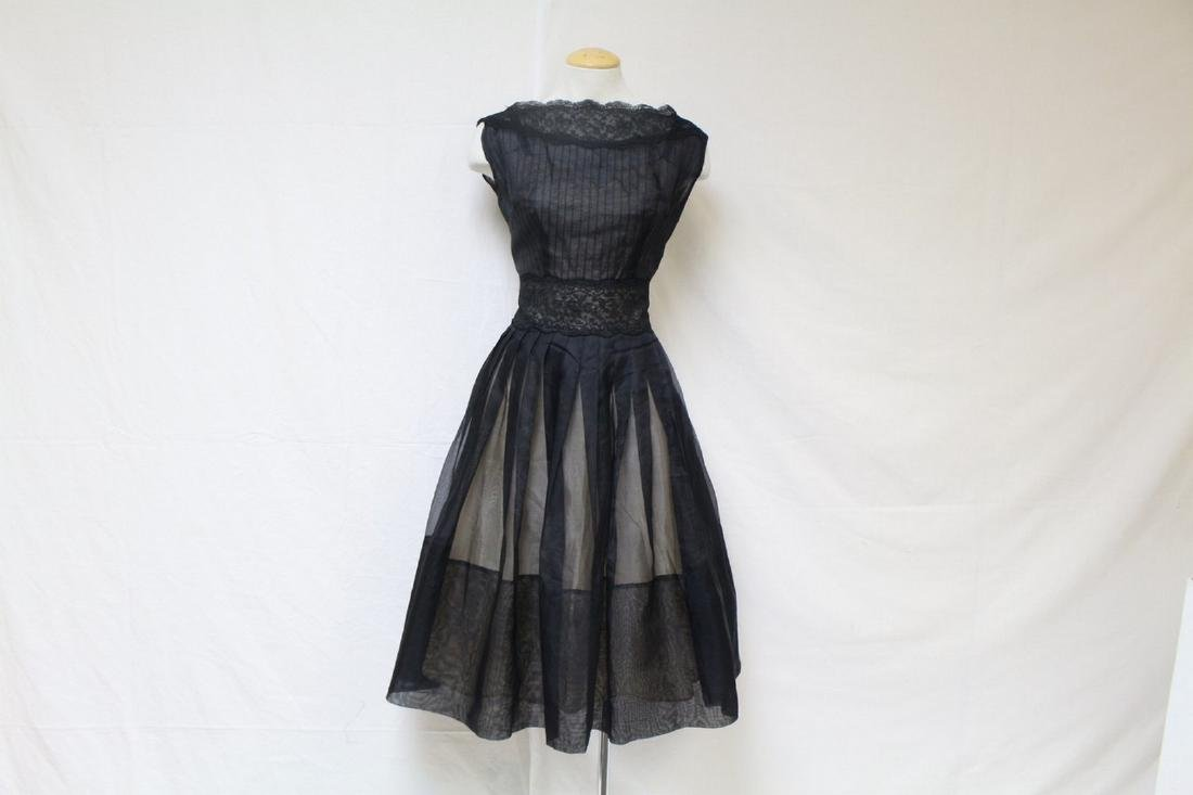 Vintage 1960s Elinor Gay Black Organza & Lace Dress