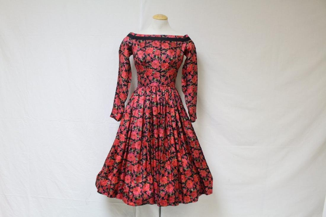 Vintage 1950s Mr. Mort Red Rose Silk Dress