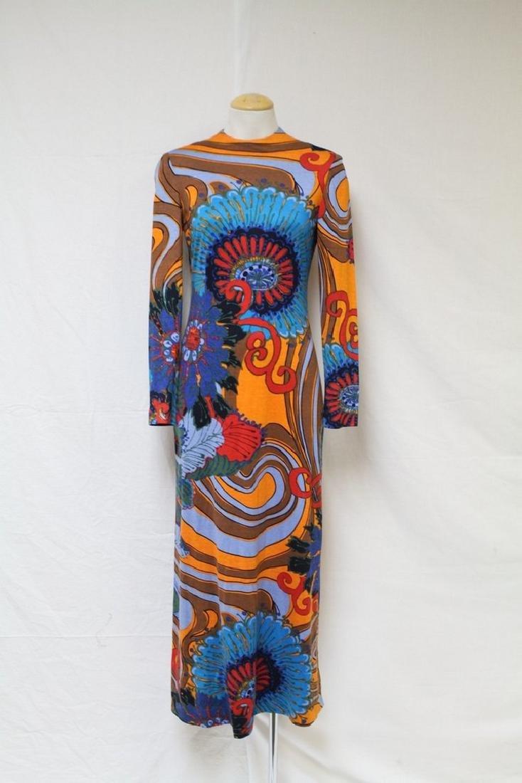 Vintage 1970s Colorful Op-Art Maxi Dress