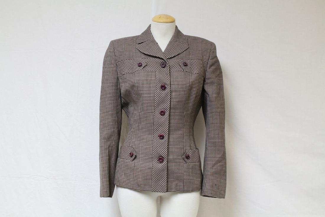 Vintage 1940s Checkered Wool Blazer