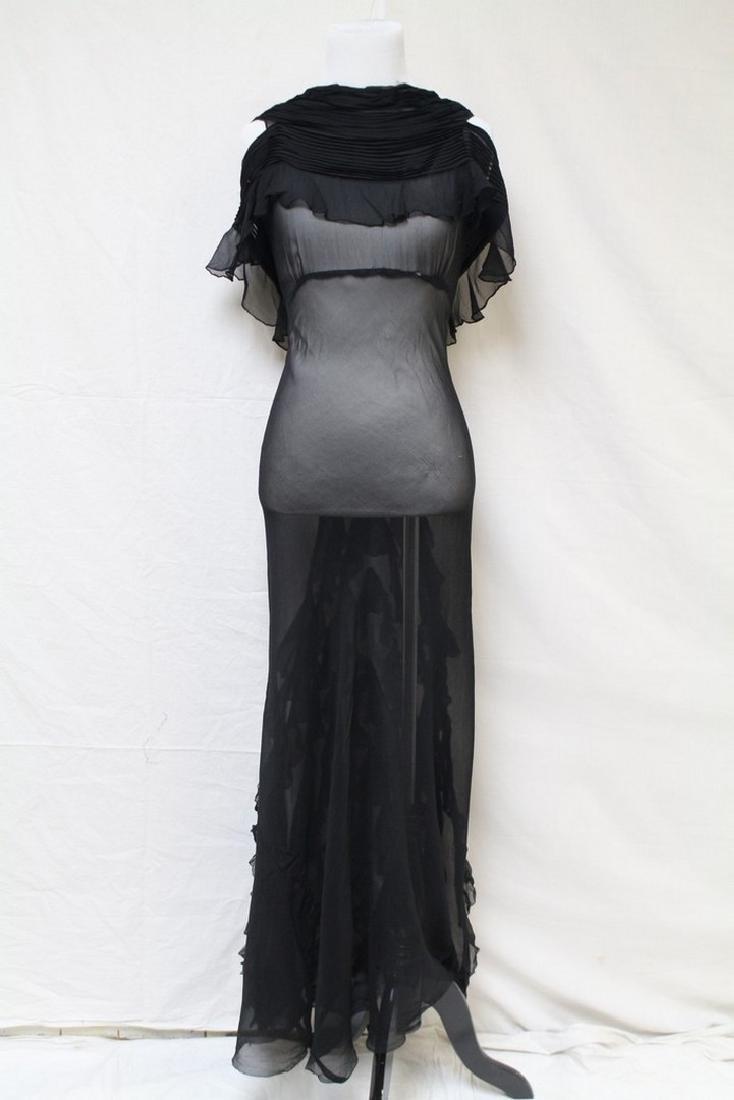 Vintage 1930s Black Chiffon Gown