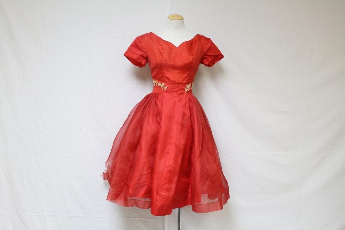 Vintage 1950s Red Organza Party Dress
