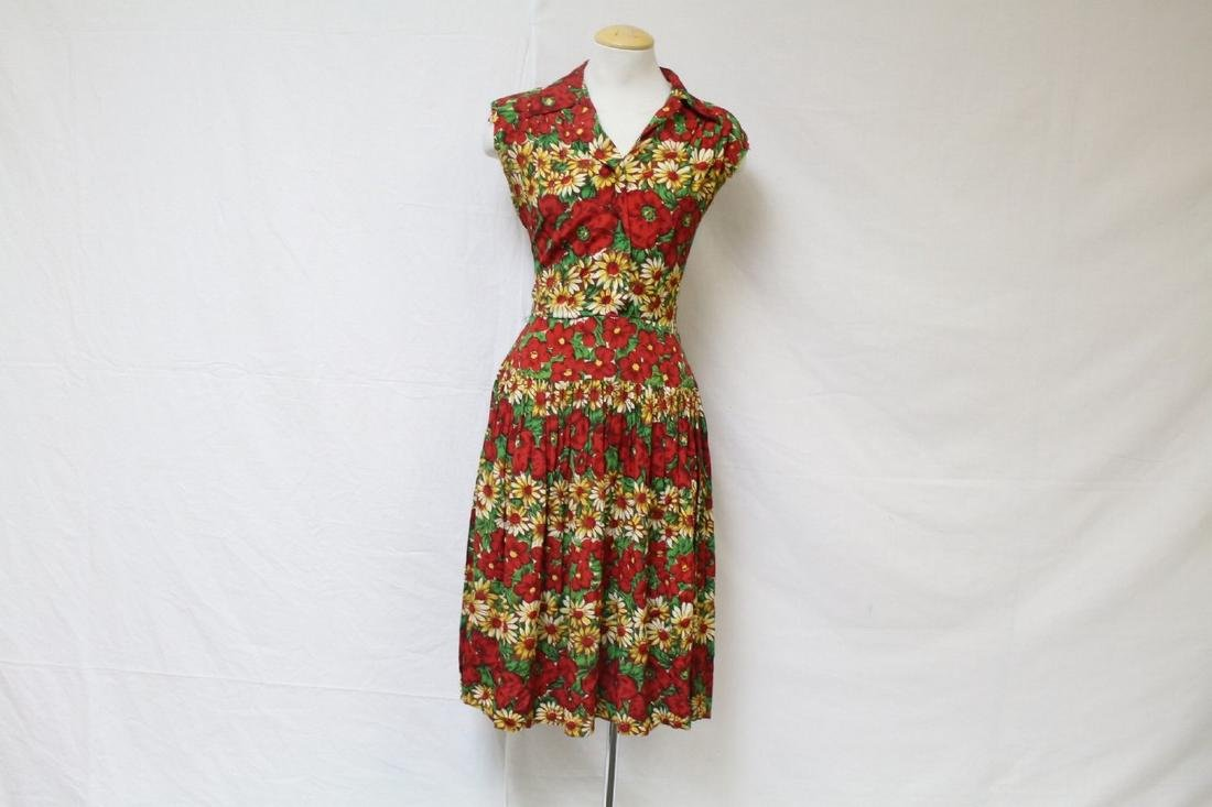 Vintage 1940s Red Floral Rayon Dress