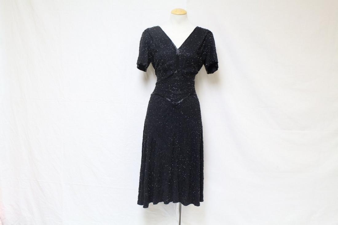 Vintage 1940s Saks Fifth Avenue Beaded Dress
