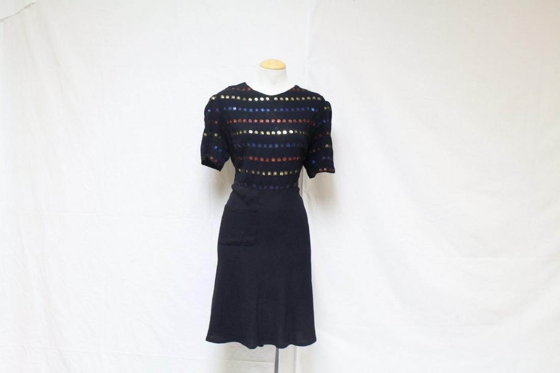 Vintage 1930s Sequin Striped Black Dress