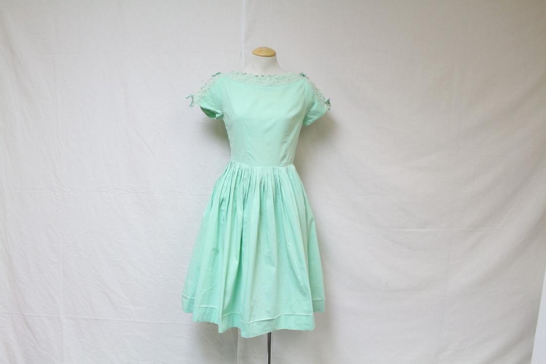Vintage 1960s Mint Green Fit & Flare Dress