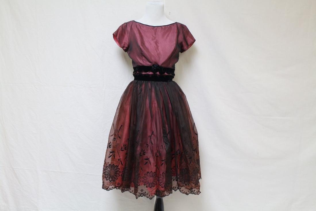 Vintage 1960s Pink & Black Party Dress