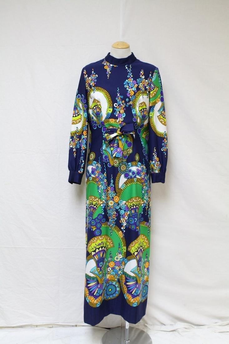 Vintage 1970s Printed Maxi Dress