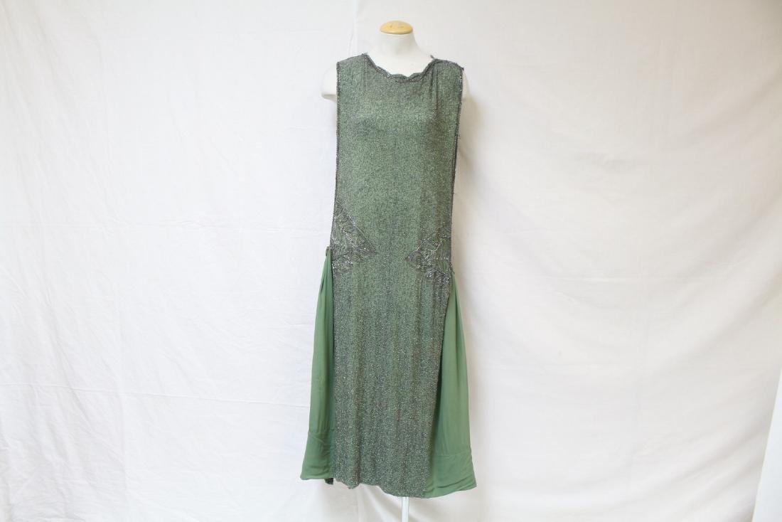 Vintage 1920s Sage Green Beaded Flapper Dress