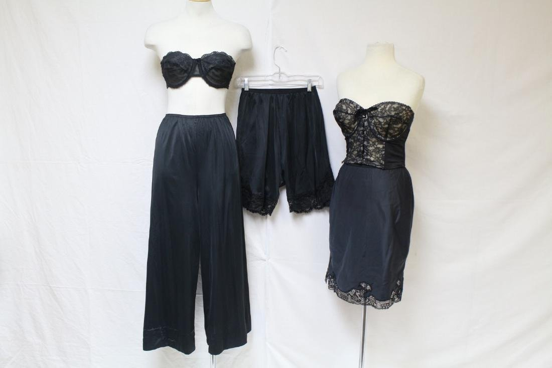 Vintage 1960s Lot of Black Lingerie