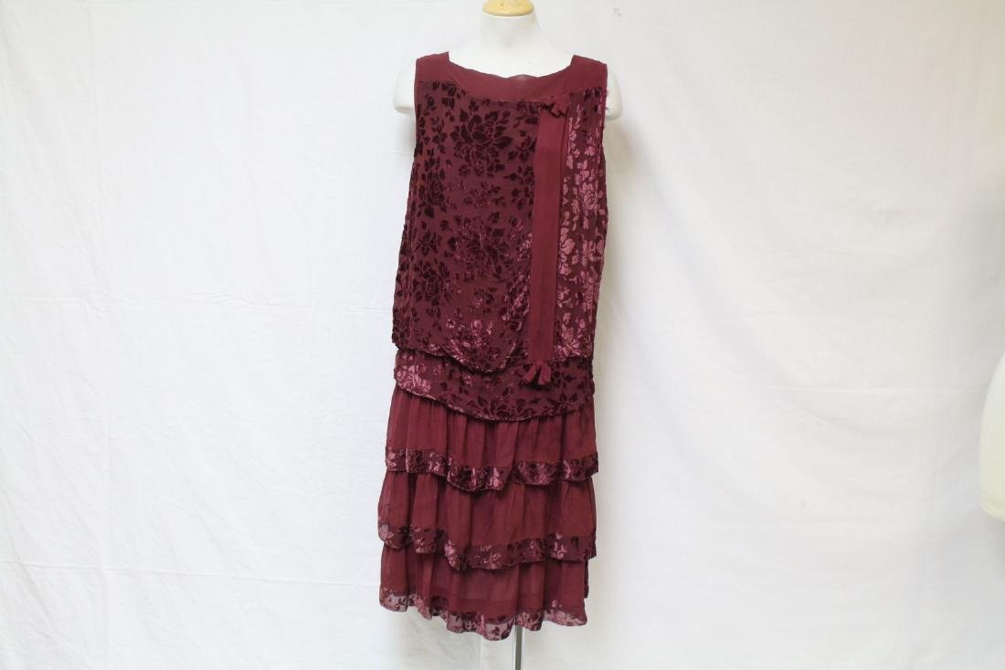 Vintage 1920s Dark Red Velvet & Chiffon Dress