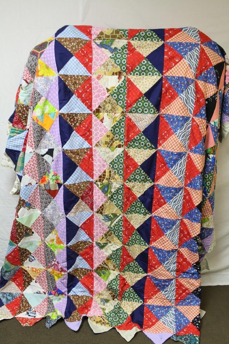 Vintage 1970s Colorful Quilt