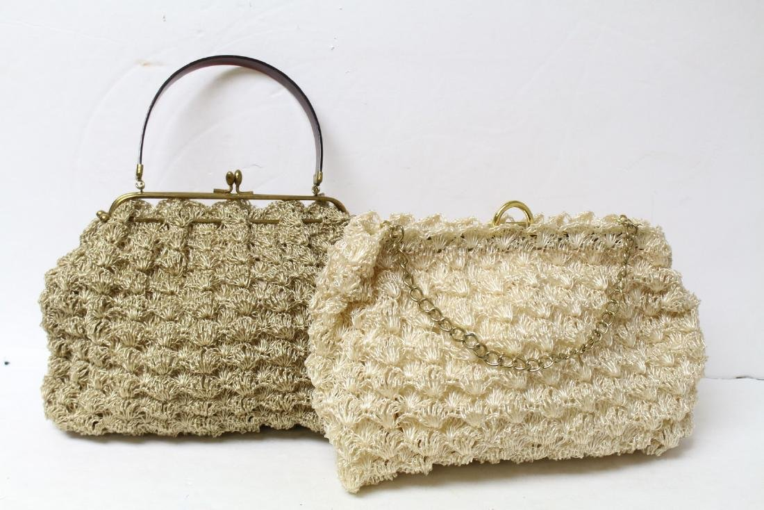 Vintage 1960s Lot of Two Straw Handbags