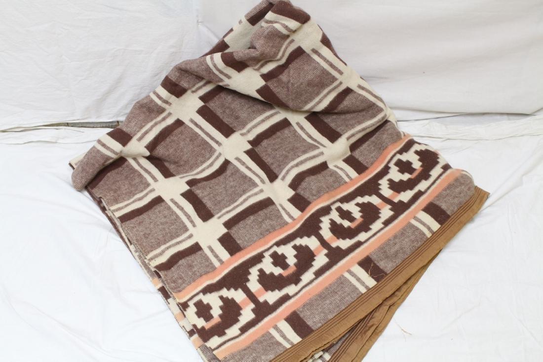 Vintage 1940s Geometric Print Wool Blend Blanket