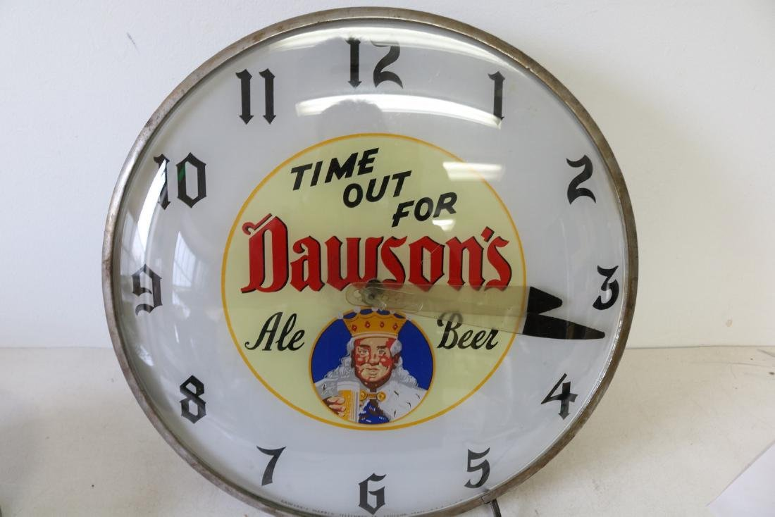 Vintage Dawson's Ale Beer, electric light up Clock