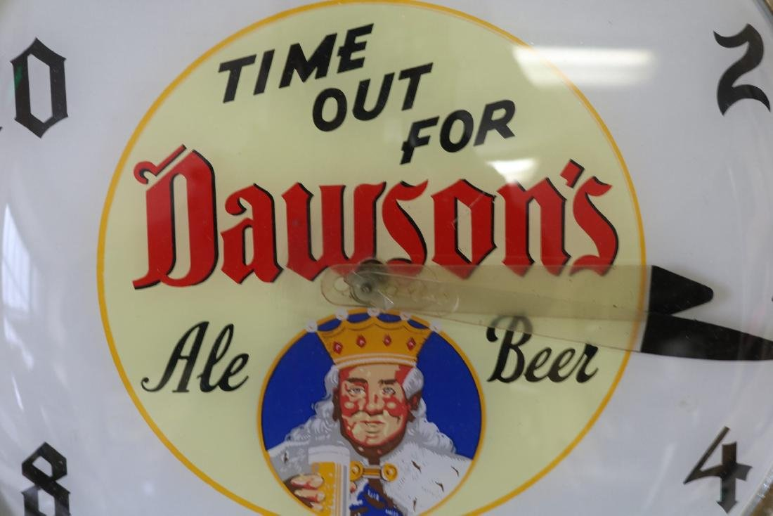 Vintage Dawson's Ale Beer, electric light up Clock - 2