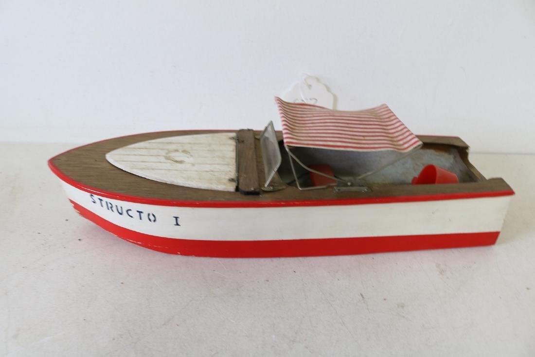 "Vintage Wooden Toy Boat, ""Structo I, Free Port"""