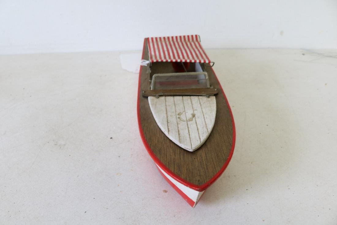"Vintage Wooden Toy Boat, ""Structo I, Free Port"" - 2"